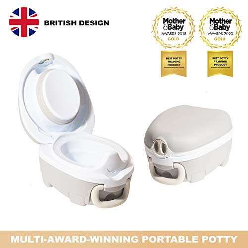 My Carry Potty - Grey Travel Potty, Award-Winning Portable Toddler Toilet Seat for Kids to Take Everywhere