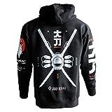 Fabric of the Universe Techwear Graphic Cyberpunk Streetwear Fashion Hoodie (Black D-Katana /RD, Large)