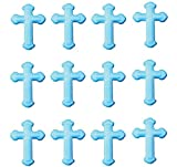 12pk First Communion Baptism Christening BLUE Cross Edible Sugar Cupcake Decoration Toppers