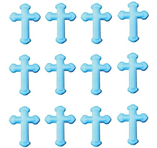 12pk First Communion Baptism Christening BLUE Cross Sugar Cupcake Decoration Toppers