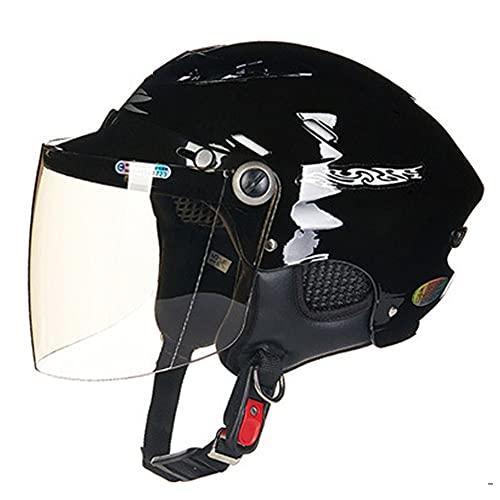 RTGE Medio Casco de Moto Cascos Jet de Moto Negros Brillantes para Adultos Casco de Viajero para Hombres & Mujeres Casco Abierto para Cruiser Chopper Mofa ciclomotor Scooter,1 tamaño,55~60 cm,B