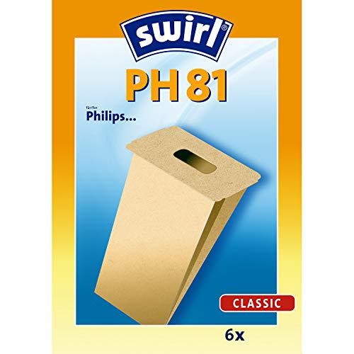 Swirl PH 81 Spezialpapier Staubsaugerbeutel für Philips Staubsauger, Classic, 6 Stück