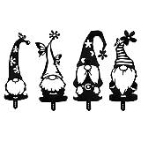 VOSAREA 4 Stücke Zwerg Figur Acryl Gartenzwerg Schwarz Silhouette Deko Gartenstecker Gartenfiguren Tomte GNOME Garten Statue Skulptur Blumenstecker Gartendeko Rost Stecker für Rasen Terrassen Deko