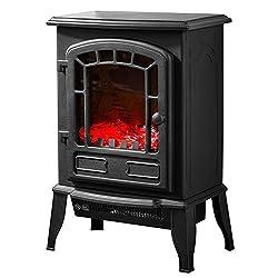 schicker elektro kamin mit heizung und kaminfeuer effekt. Black Bedroom Furniture Sets. Home Design Ideas
