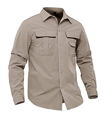 EKLENTSON Men's Fishing Shirt Long Sleeve Button Down Hiking T-Shirt Mesh Lined Field Convertible Shirt Khaki