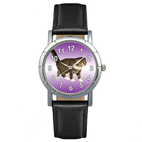 Timest - Scottish Fold Gato - Reloj para Mujer con Correa de Cuero Negro Analógico Cuarzo SA2662