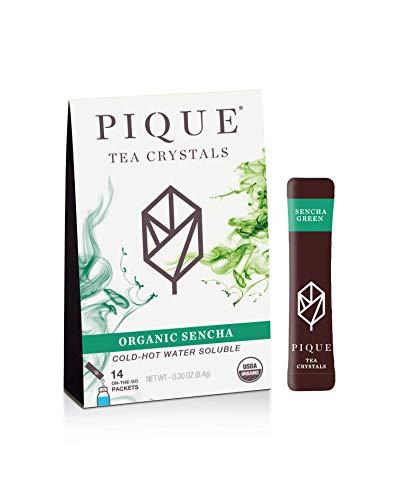 Pique Tea Organic Sencha Green Tea Crystals - Immune Support, Gut Health, Fasting -14 Single Serve Sticks (Pack of 1)