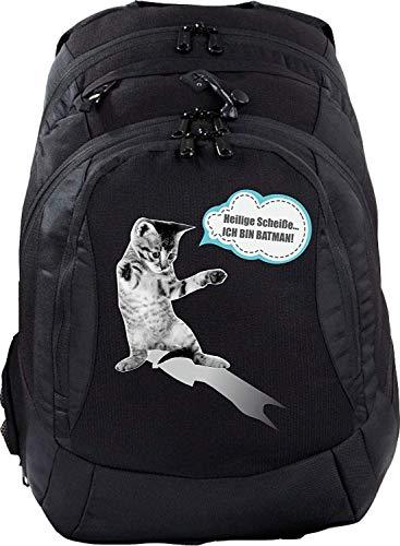 Mein Zwergenland Sac à dos d'écolier Teen Compact 26 L Noir Chat Batman