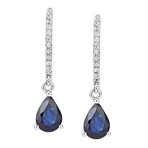 Naava Women's 18ct White Gold Diamond and Sapphire Pear Drop Earrings