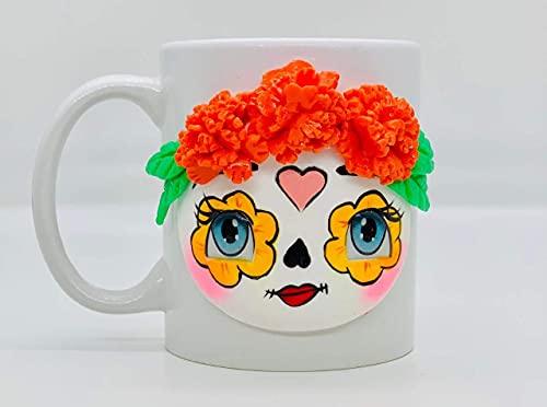 Taza de café de cerámica Catrina hecha a mano, taza de café feliz, cada taza es única (amarillo)