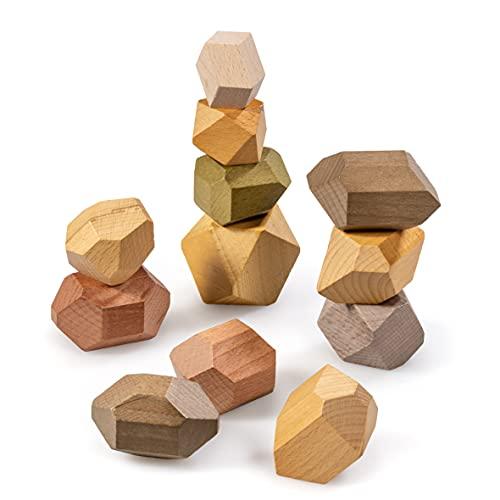 naturling Balancier Stapelsteine - Montessori Holzspielzeug handgemacht - 12...