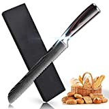 Soffiya Bread Knife 8 inch, Serrated Bread Cutter chef Kitchen, High Carbon Stainless Steel, Pakkawood Handle, Bagels, Cake Slicer Cutter