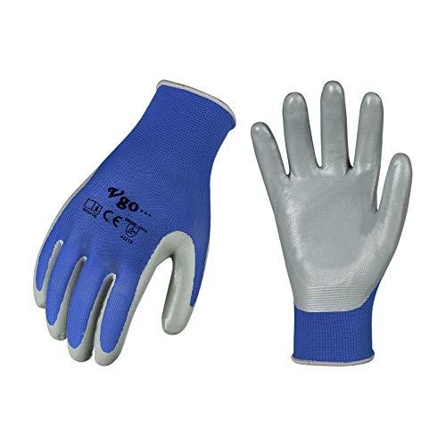 Vgo 10 Paare Nitrilbeschichtung Handschuhe, Gartenarbeit, Fisch und Arbeitshandschuhe, ökonomisch (10/XL, Blau, NT2110)