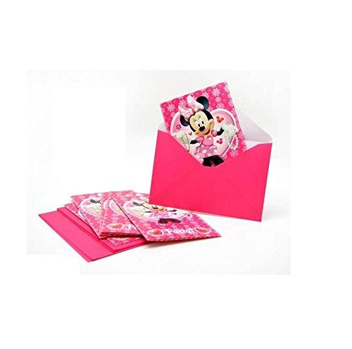 Lot 6 carte invitation + enveloppes - Minnie Disney - Fête Anniversaire - 496