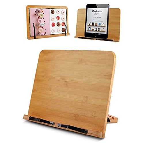 KETIEE Bambus Buchständer Rezeptbuchständer, Buchhalter zum Lesen, Küche, mit 2 Metall-Seitenhalter Kochbuchhalter perfekt für Kochbücher, Magazin, iPad, Tablets