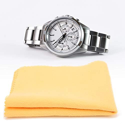 5 Stück Uhrenreinigung Poliertuch, Brillengläser abwischen, Uhrenreparaturwerkzeug zum Reinigen der Uhrenoberfläche, Brille, Kameraobjektiv, Telefonbildschirm, Computerbildschirm