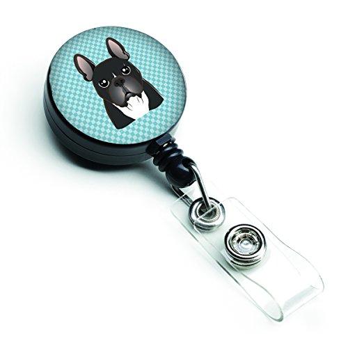Caroline's Treasures BB1165BR Checkerboard Blue French Bulldog Retractable Badge Reel, Belt Clip, Multicolor