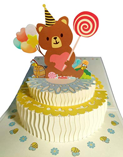 Fenyor7i Little bear Birthday Cake Pop Up Card - Happy Birthday Card For Kids, Cake Greeting Card, Pop Up Birthday Cards, 3D Cards, Pop Up Greeting Card, Birthday Pop Up Card, Greeting Card For Birthday.