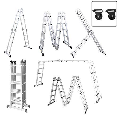 Aufun Alu Multifunktionsleiter 6 in 1 Leitergerüst 4 x 5 Sprossen Leiter Klappleiter Verstellbar Mehrzweckleiter, belastbar bis 150 kg, Vielzweckleiter mit 2 Gerüstplatten - 580 cm Gesamtlänge