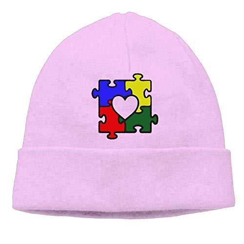 TTYIY Hombres/Mujeres Autismo Corazón Puzzle Autismo Concienciación al aire libre Stretch Gorros Sombrero Suave Invierno Calavera Tapas