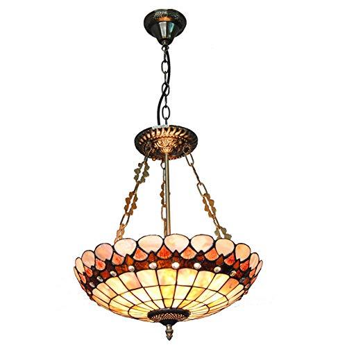 Lampada A Sospensione Vintage Tiffany Style Ferro Handmade Shell Chandelier Soggiorno Creativo Sala Da Pranzo Foyer Bar Decorazione 16 Pollici