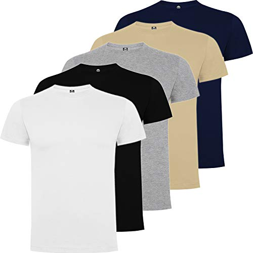 Pack 5   Camiseta Algodón Hombre   Camiseta Básica Hombre Premium   Manga Corta (Combinación 1, XL)
