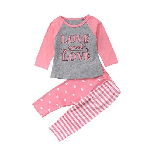 Qinngsha - Conjunto de pijamas de algodón para recién nacido, diseño de rayas, color rosa