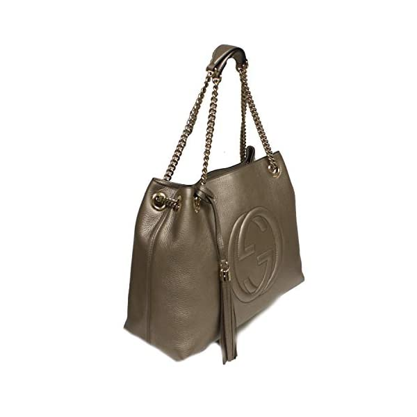Fashion Shopping Gucci Soho Interlocking GG Golden Metallic Beige Chain Shoulder Handbag 308982 9524