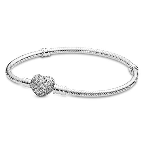 Pandora Jewelry Moments Sparkling Heart Clasp Snake Chain Charm Cubic Zirconia Bracelet in Sterling Silver, 9.0'