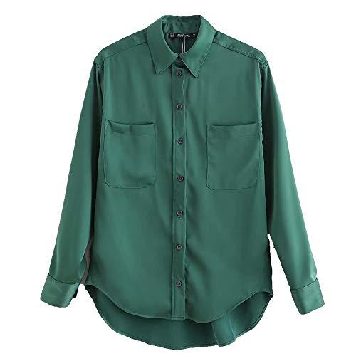 NOBRAND Donne s Tinta unita Sciolto Casual Manica Lunga Camicia era Sottile Camicia Verde XS