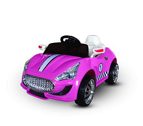 MEDIA WAVE store Macchina elettrica Rosa LT869 per Bambini Auto Sport monoposto 6V luci e Suoni