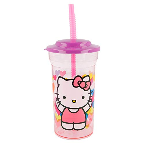 STOR Basic Clear Straw Tumbler Hello Kitty Hearts Verre Mixte