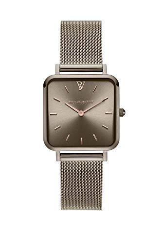 PAUL VALENTINE ® Damenuhr Glossyedge Uhr aus Edelstahl mit Mesh Armband Edle Damen Uhr mit japanischem Quarzwerk - Armbanduhr für Damen (Khaki Mesh)
