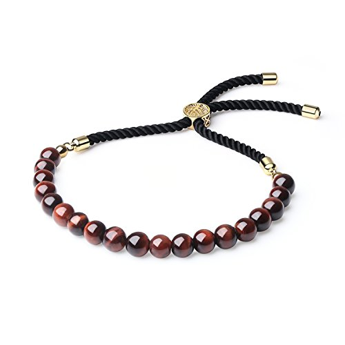 COAI Pulsera para Mujer Ajustable con Ojo de Tigre y Cordón Espiral de Nylon con Cierre Amuleto Árbol de la Vida