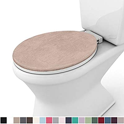 Gorilla Grip Original Thick Memory Foam Bath Room Toilet Lid Seat Cover, 19.5 Inch x 18.5 Inch Size, Machine Washable, Plush Fabric Covers, Fits Most Size Toilet Lids for Children's Bathroom, Beige