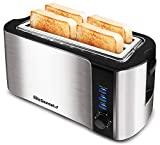 Elite Gourmet ECT-3100 Long, 6 Toast Settings Toaster Defrost, Reheat, Cancel Functions, Slide Out Crumb Tray, Extra Wide 1.25' Slots for Bagels Waffles, 4 Slice, Stainless Steel