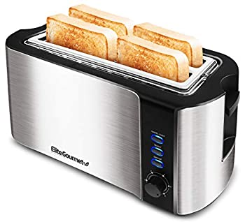 Elite Gourmet ECT-3100 Maxi-Matic 4-Slice Long Toaster 6 Toasting Levels & Extra Wide Slots for Bagels Waffles Specialty Breads Puff Pastry Snacks Stainless Steel