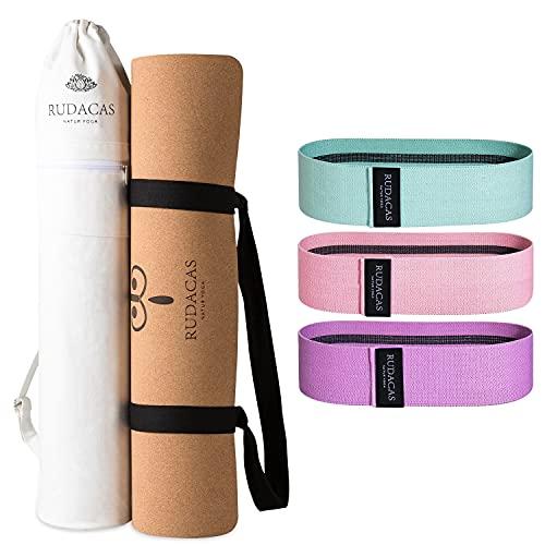 RUDACAS. Esterilla de Yoga de corcho natural, antideslizante, deporte , 183x66x6mm. Líneas, bolsa, cinta de transporte.Set de 3 bandas elásticas, Bolsa de transporte premium.