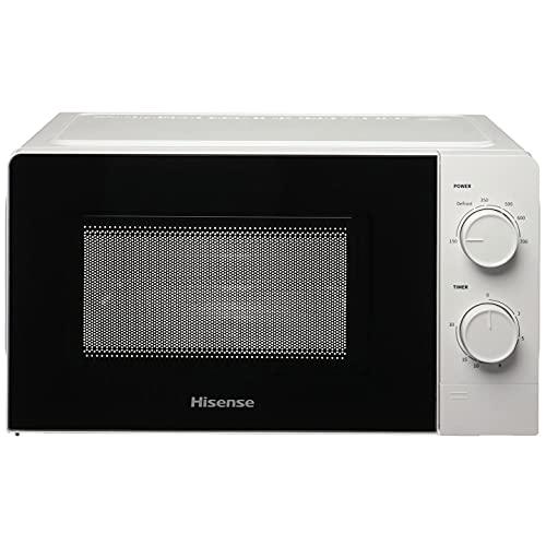 Hisense H20MOWS1 Forno Microonde con Controllo Meccanico, Capacità 20 L, Potenza 700 Watt su 6 Livelli, Colore Bianco