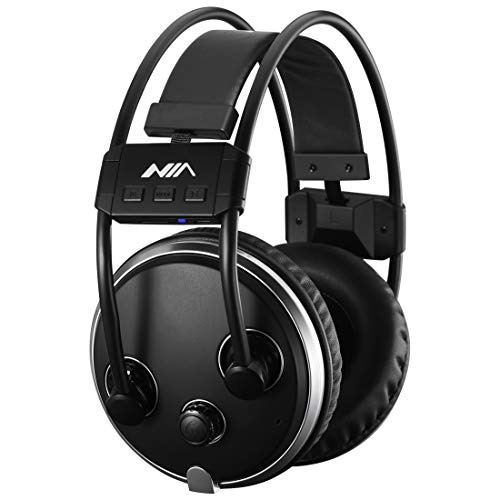 Bluetooth Headphones Over Ear, Hi-Fi Stereo Wireless Headset, Fm Radio Micro SD Card Mp3 Player,Soft Memory-Protein Earmuffs, w/Built-in Mic Wired Mode PC/Cell Phones/TV(Black)