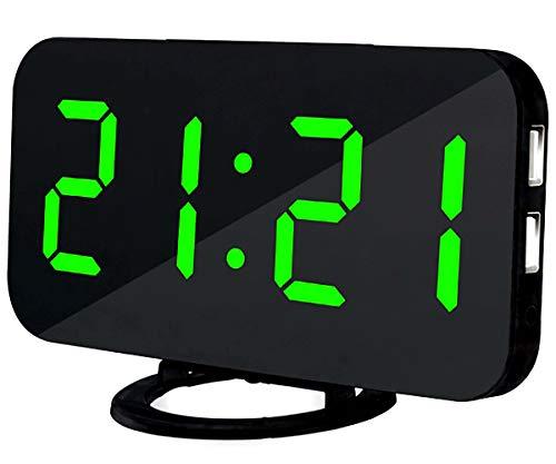 Lbsel Despertador Llevado EléCtrico De La ExhibicióN, 2 Puertos De Carga del USB, Reloj Despertador Grande del NúMero Digital Reloj De Mesa Llevado con Brillo Ajustable (Green)
