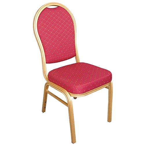 Bolero u525Bankett-Stuhl, gewölbte Rückseite, Gold Rahmen, Speckle Stoff, rot (4Stück)