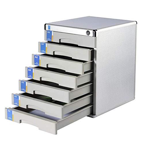 QNDDDD Cajoneras de Alenamiento, Archivadores Gabinete de Oficina Archivador Gabinete de Alenamiento de Escritorio de 7 Pisos Aleación de Aluminio Multifunción con Cajón con Cerradura, Papel A4