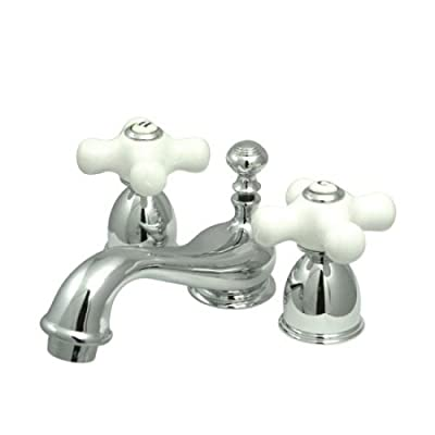 Kingston Brass KS3951PX Restoration Mini Widespread Lavatory Faucet with Porcelain Cross Handle, Polished Chrome,4-Inch Adjustable Center