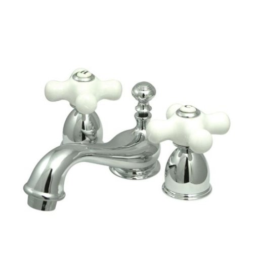 Kingston Brass KS3951PX Restoration Mini Widespread Lavatory Faucet with Porcelain Cross Handle, Polished Chrome,4-Inch Adjustable Center