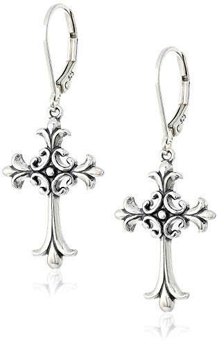 Sterling Silver Oxidized Celtic Cross Leverback Dangle Earrings