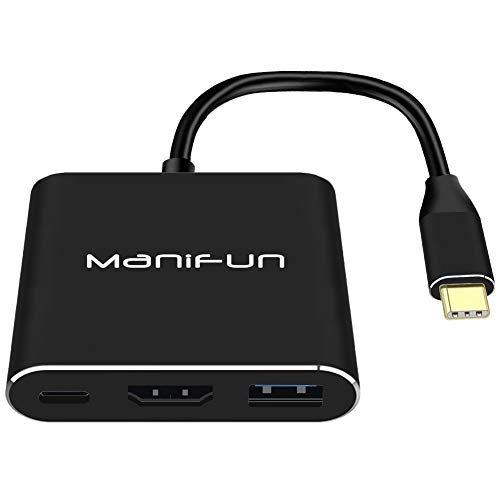 Manifun USB C to HDMI Adapter, Type C to HDMI Adapter Thunderbolt 3 to HDMI 4K, USB 3.0, USB C Power Delivery Compatible MacBook Pro, MacBook, Samsung Galaxy S8/S9/S10/Note 8/Note 9/Note 10(Black)