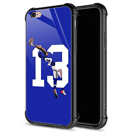 iPhone 6S Case,13 Odell Catch Football iPhone 6 Cases for Girls Boys,9H Tempered Glass Graphic Design Shockproof Anti-Scratch Tempered Glass Case for Apple iPhone 6/6S