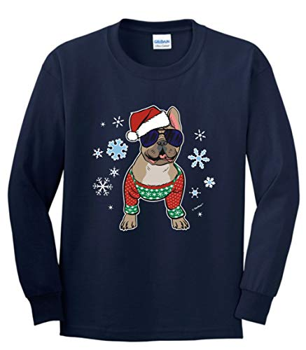 Dog Dad or Frenchie Mom Christmas Outfit Christmas Clothes Frenchie in a Christmas Sweater Youth Long Sleeve T-Shirt Large Navy