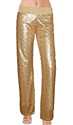 Gold Color Sequin With Velvet Staight Leg Pants